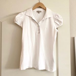 🖤 BURBERRY White Puff Sleeve Nova Check Polo